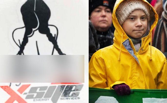 Greta Thumberg violentata adesivo compagnia petrolifera canadese