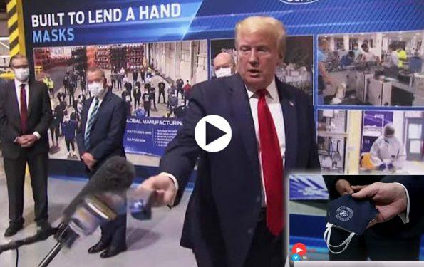 Il Presidente Donald Trump spiega perchè non ondossa una mascherina in visita alla Ford in Michigan