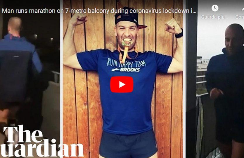 Un francese in quarantena per coronavirus corre la maratona sul piccolo balcone di casa