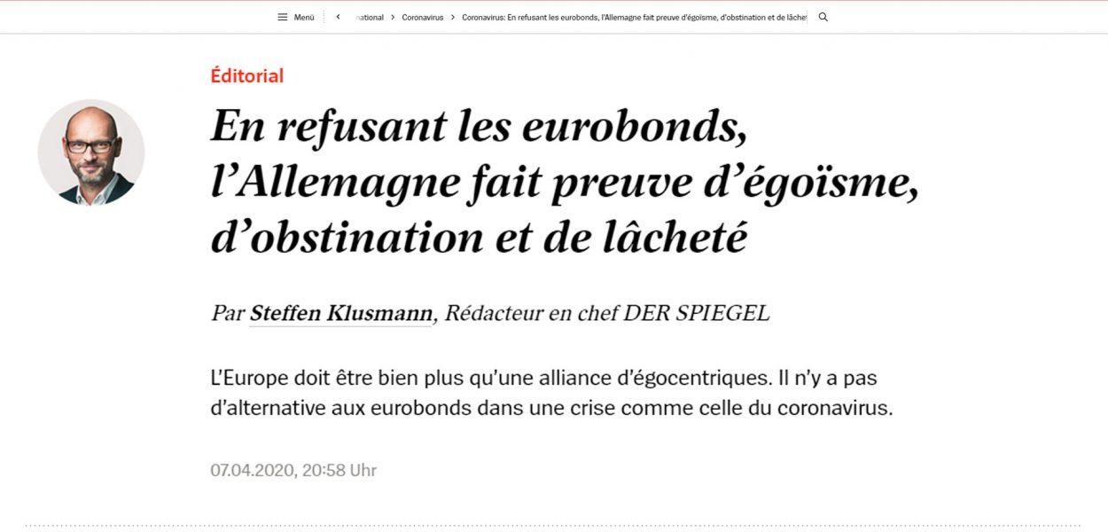 der-spiegel Rifiuto eurobond egoismo e codardia